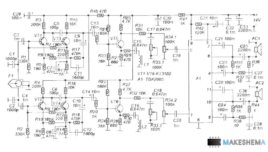 Схема усилителя автомагнитолы