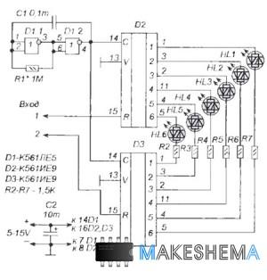 Схема светодиодного индикатора