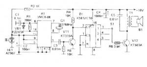 Схема музыкального сигнализатора