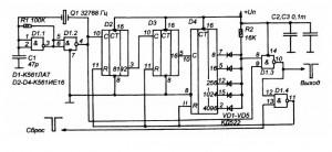 Схема генератора суточных импульсов