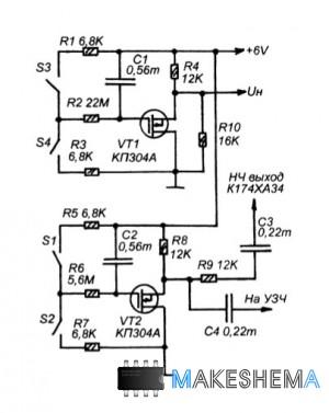 Схема кнопочного узла управления приемника на К174ХА34.