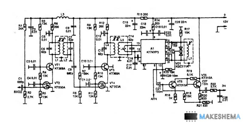 Схема приемника записи звука