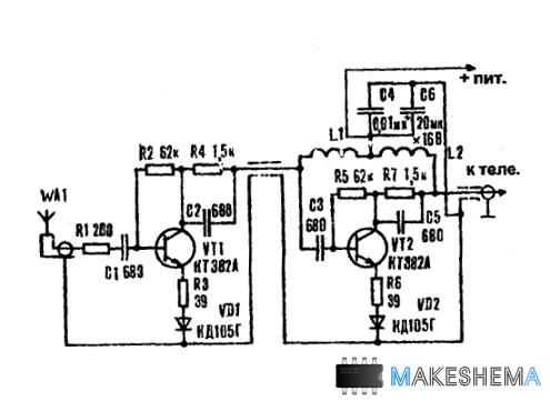 Схема телевизионного антенного