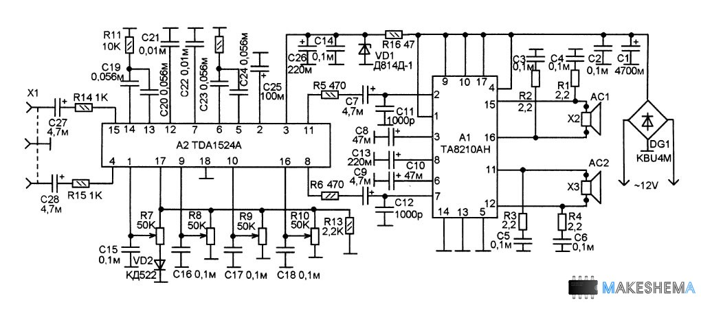 Схема усилителя с электронным