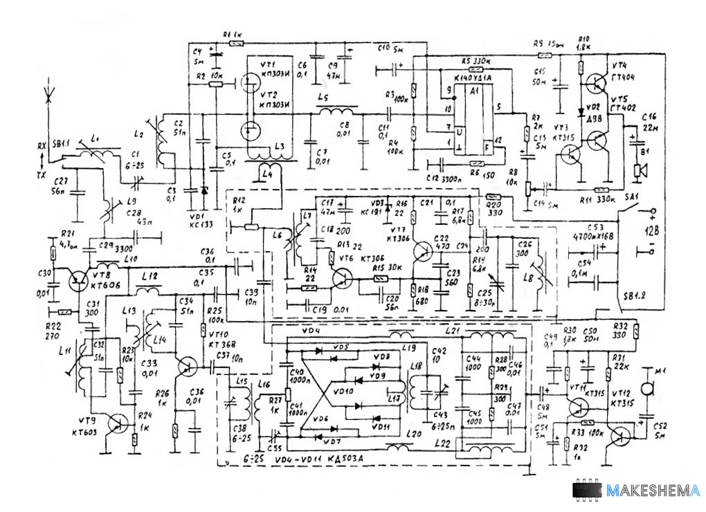 Схема трансивера SSB на 28 мгц