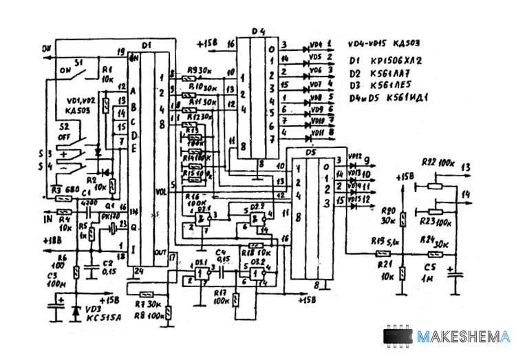 микросхема D1 - К561ТР2,
