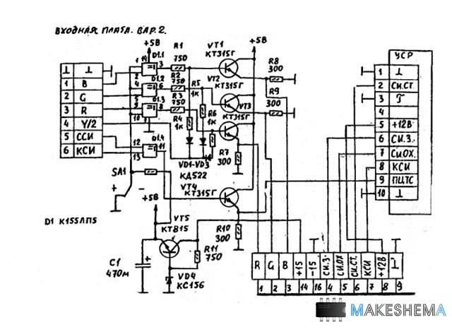 Схема видеомонитора для