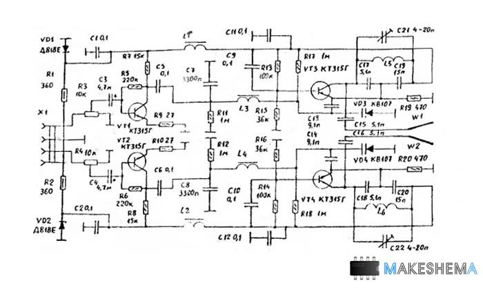 Схема дистанционных наушников